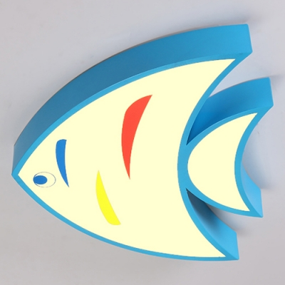 Acrylic LED Pendant Light with Fish Blue/Red/Yellow Suspended Light for Kindergarten Classroom