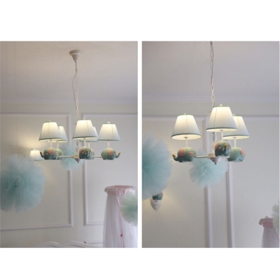 Coolie 3/5 Lights Chandelier Lamp with Elephant Blue/Pink Fabric Shade Suspension Light for Baby Kids Room