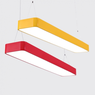 Minimalist Rectangle Suspension Light Dining Room Kindergarten Acrylic Lighting Fixture in Blue/Green/Yellow/Red