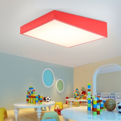 Geometric Lighting Fixture Minimalist Modern Acrylic LED Flushmount in Blue/Green/Red/Yellow for Kindergarten