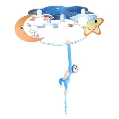 Wooden Bunny/Monkey Flush Mount Modern Amusement Park Bedroom 5 Lights LED Ceiling Flush Mount