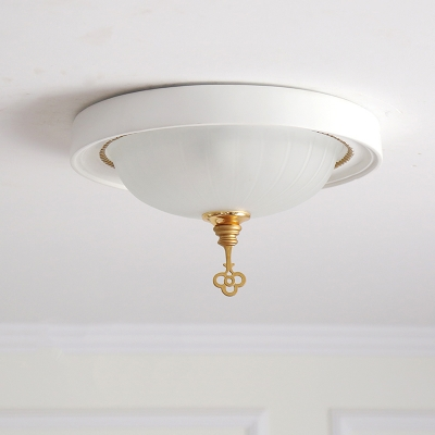 Frosted Glass Bowl Ceiling Light with Key Girls Bedroom Corridor Flush Light in Pink/White