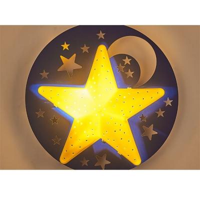 Wooden Star&Moon Wall Lamp Kids Nursing Room Single Light LED Wall Light Sconce in Yellow