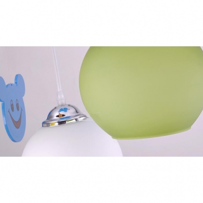 Glass Globe Shade Hanging Lamp Children Room 3 Heads Lighting Fixture with Blue Cartoon Mouse Canopy