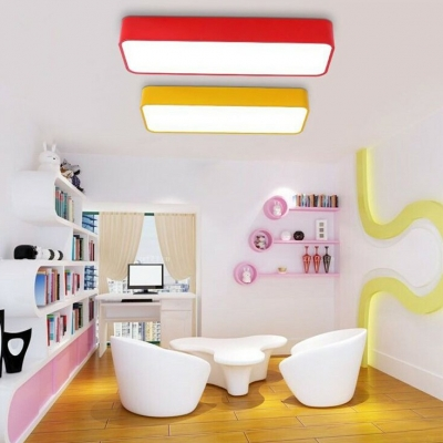1 Head Rectangle LED Ceiling Lamp Simplicity Colorful Nursing Room Acrylic LED Flush Mount