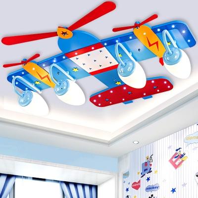 Blue Prop Plane Ceiling Lamp Acrylic 3/4 Lights LED Flush Mount Lighting for Boys Bedroom Game Room