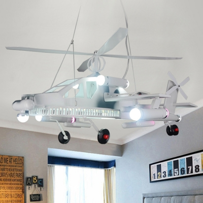 Height Adjustable High Flyer Lighting Fixture Boys Room Metallic 6 Bulbs Chandelier Lamp in White