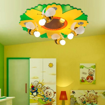 4 Lights Bee LED Ceiling Fixture Nursing Room Kindergarten Glass Ceiling Light in Yellow