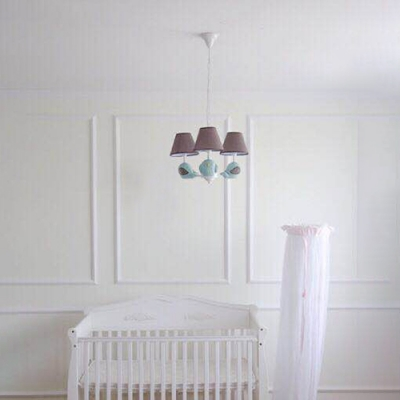 Lovely Tapered Hanging Lamp with Bird Decoration Children Fabric 3/5 Lights Suspended Light in White Finish