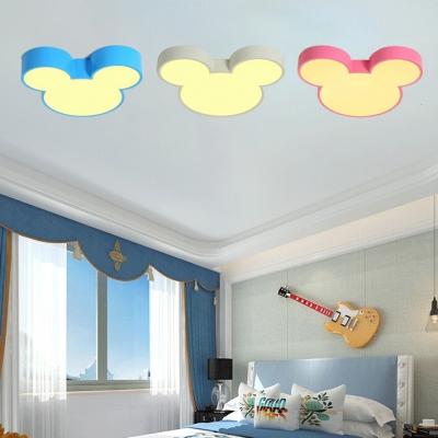 Cartoon Mouse Flush Light Blue/Pink/White Acrylic LED Ceiling Flush Mount for Kids Nursing Room