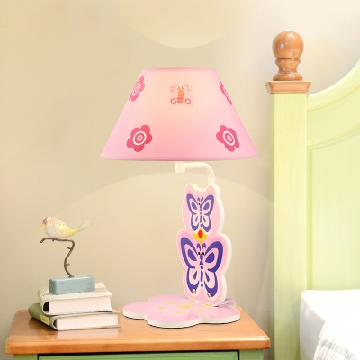 Lovely Butterfly 1 Bulb Table Lamp With Pink Fabric Shade Reading Light For Girls Bedroom Beautifulhalo Com