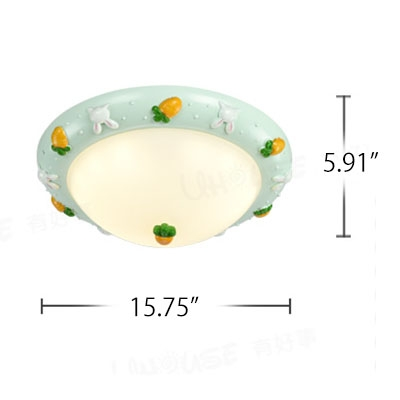 Lovely Bowl Shade Flushmount Girls Room Corridor Opal Glass Single Head LED Ceiling Fixture