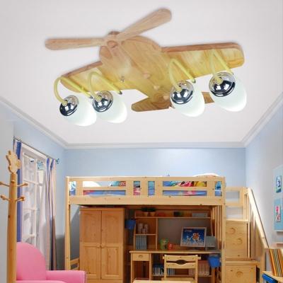 White Glass Shade Airplane Flushmount Modern Children Bedroom 4 Lights LED Ceiling Light in Wood