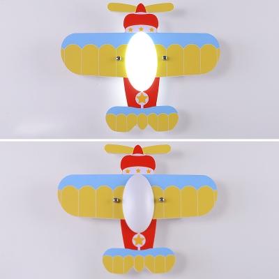 Prop Plane LED Flush Mount Modern Style Nursing Room Children Decorative Wooden 1 Light Ceiling Lamp