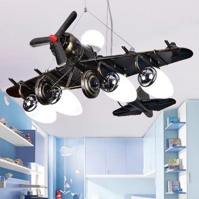 5 Lights Prop Plane Hanging Lamp Children Bedroom Metallic Suspended Lamp in Blue/Black/Yellow/Red