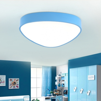 Triangle 1 Head Flush Ceiling Light Children Bedroom Blue/Yellow/Red Acrylic LED Ceiling Lamp