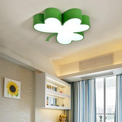 Kindergarten Clover Ceiling Light Modern Design Metal LED Flush Light Fixture in White/Third Gear