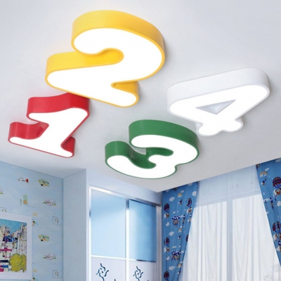Number Shape LED Ceiling Light Modern Fashion Amusement Park Bedroom Acrylic Flush Light