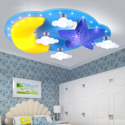 Moon and Star Ceiling Lamp Modernism Kindergarten Metal 6/7 Lights LED