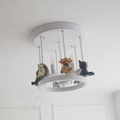 White Finish Candle Ceiling Lights Metal 4 Lights LED Semi Flush Mount for Girls Bedroom