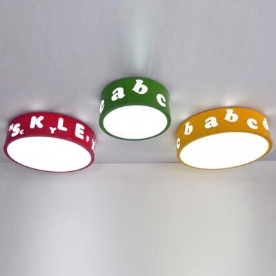 Round Shade LED Flushmount Kindergarten Acrylic Lighting Fixture in Green/Yellow/Red