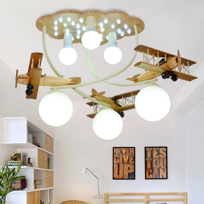 Retro Style Biplane Suspended Lamp Boys Room Glass Shade 6 Lights Flush Light in Blue/Silver/White