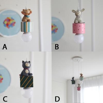 Lovely Cat/Lion/Rabbit Hanging Light Baby Kids Room Plastic 1/3 Head Decorative Pendant Light