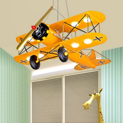 Aircraft Flush Light Boys Room Plastic 8 Lights Ceiling Flush Mount in Blue/Yellow/Red