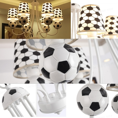 Fabric Shade Football Chandelier Light Kindergarten 6 Lights Accent Hanging Lamp in White Finish