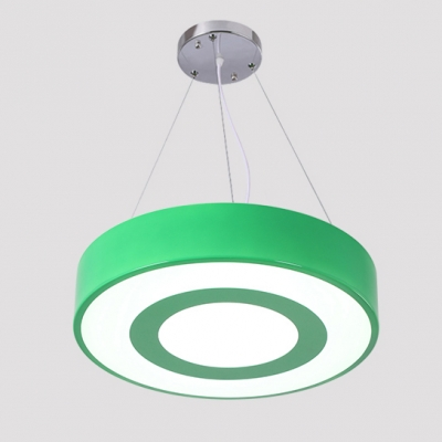 Simplicity Drum Pendant Light Bedroom Green/Pink/Yellow Acrylic Hanging Lamp in White/Third Gear