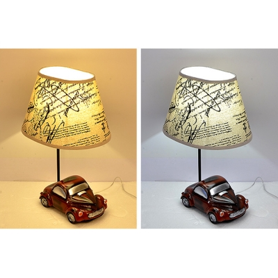 Transportation 1 Head Desk Light Vintage Style Fabric Shade Standing Table Lamp for Boys Room