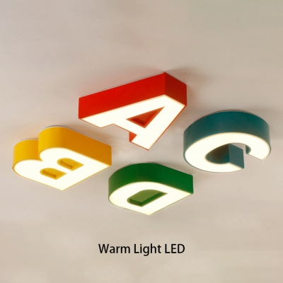 Acrylic ABCD LED Flush Light Nursing Room Classroom Ceiling Lamp in Warm/White/Third Gear