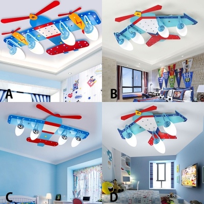 Blue Prop Plane Ceiling Lamp Acrylic 3 4 Lights Led Flush Mount Lighting For Boys