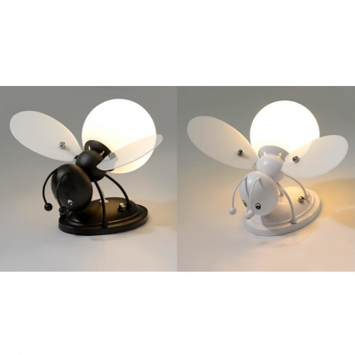 1 Light Bee Wall Lighting Boys Girls Bedroom Glass Shade Wall Mount Fixture in Black/Orange/White