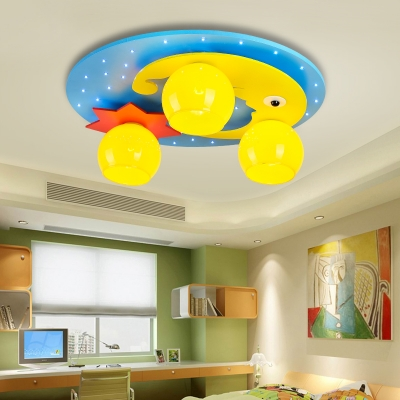 3 Lights Moon and Star Flushmount Children Bedroom Ceiling Lamp with Yellow Glass Shade