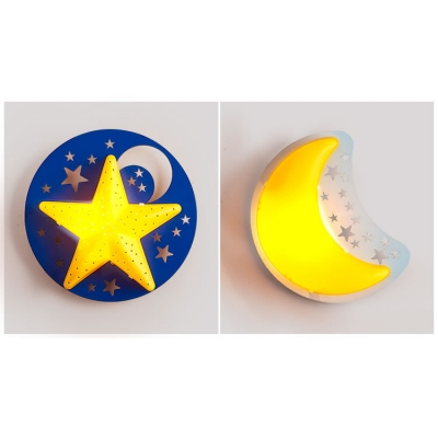 Wooden Star&Moon Wall Lamp Kids Nursing Room Single Light LED Wall Light Sconce in Yellow