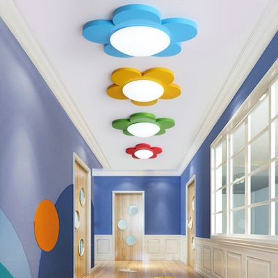 Floral Led Flushmount Colorful Simple Acrylic Ceiling