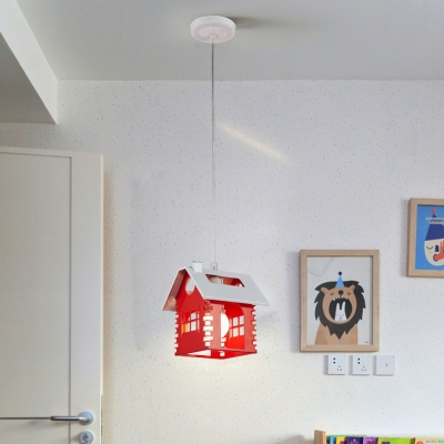 Metallic Hanging Lamp with House Design White 1/3 Lights Pendant Light for Baby Kids Room