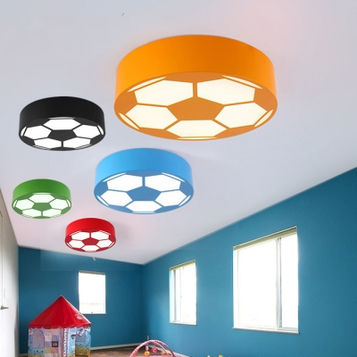 Sport Theme Football Flushmount Colorful Acrylic Led Ceiling Fixture For Boys Bedroom