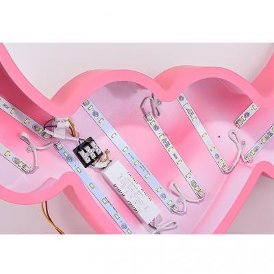 Pink Loving Heart Ceiling Light Modernism Acrylic LED Flushmount for Kindergarten Nursing Room