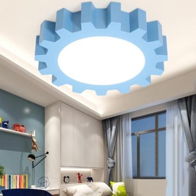 Gear Shape LED Flush Light Modern Chic Nursing Room Acrylic Ceiling Light in Warm/White/Third