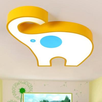 Decorative Pink/Yellow Elephant Flushmount Modern Acrylic LED Ceiling Lamp for Girls Boys Room