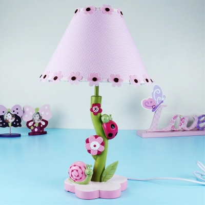 Unique 1 Light Floral Table Lamp Girls Bedroom Pink Fabric Shade