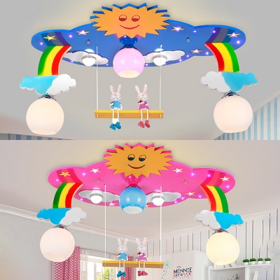 Rainbow Ceiling Lamp with Rabbit Decoration Baby Nursing Room Glass Shade 5 Lights Flush Light in Blue/Pink