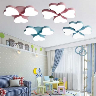 Acrylic Flush Light Fixture with Loving Heart Colorful 3/4 Heads LED Ceiling Lamp for Girl Room