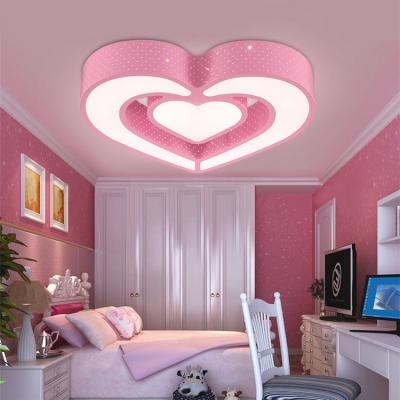 Lovely Acrylic Heart LED Flushmount Modern Design Girls Bedroom LED Ceiling Light in Pink