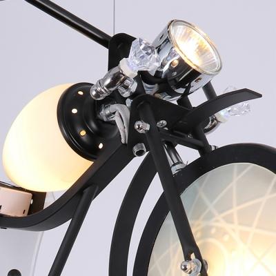Motorcycle 3 Lights Hanging Light Black/Silver Metal Suspended Lamp for Game Room Kindergarten