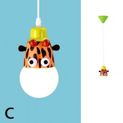 Zebra/Monkey/Giraffe Pendant Light Children Kids Bedroom Metal Single Head Suspended Light