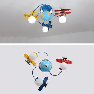 3/6 Light Airplane Semi Flushmount Boys Bedroom Glass Shade LED Lighting Fixture in Blue