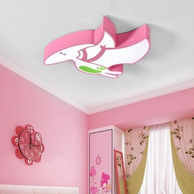 Acrylic Dinosaur LED Flush Light Cartoon Modern Kindergarten Classroom LED Ceiling Lamp in White